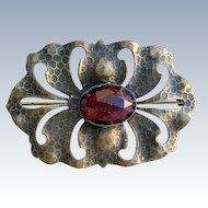 Arts & Crafts / Art Nouveau Hammered Brass Sash Pin