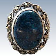 Vintage Art Deco Lapis & Marcasite Sterling Ring