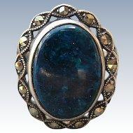 Vintage Art Deco Lapis & Marcasite Sterling Ring