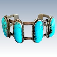Vintage Native American Large Stone Turquoise Sterling Silver Cuff Bracelet