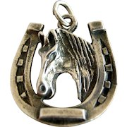 Vintage Horse Head in Horseshoe Sterling Silver Charm