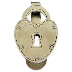 Vintage Sterling Silver Figural Lock Money Clip