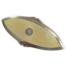 Victorian / Edwardian Yellow Guilloche Enamel Sterling Silver Pin Brooch