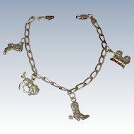 Vintage Sterling Silver Western Charm Bracelet