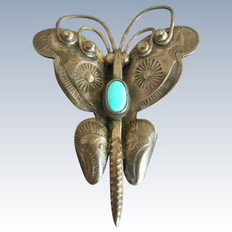 Navajo Stamp Work Sterling Silver Turquoise Butterfly Pin & Earrings