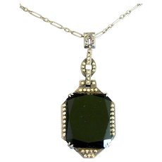 French Art Deco Sterling Silver Onyx & Marcasite Pendant Necklace