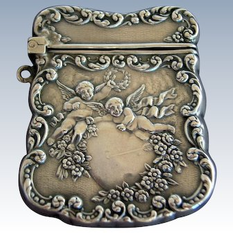 UNGER BROS Repousse Sterling Silver Heart & Cherub Stamp Case Box