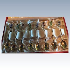 8 Danish Plique A Jour Enamel Sterling silver Gold Spoons in Presentation Box