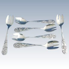 6 Sterling silver Ice Cream Forks by Frank Smith with Grapes and Vines