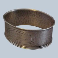 Arts and Crafts Style Hammered Sterling Silver Napkin Ring Dated 1924