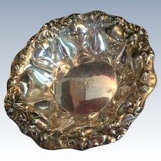 Magnificent Large Art Nouveau Poppy Sterling Silver Bowl by Alvin