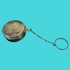 Sterling Silver Mirrored Compact on Chain for Chatelaine