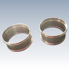 Pair Hammered Sterling Silver Napkin Rings dated 1924