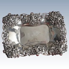 Fab Sterling silver Dish with Ornate Flowers by Graf, Washbourne and Dunn