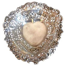 English Sterling silver Heart Dish Hallmarked Birmingham 1897-8
