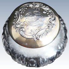 Gorham Lace and Roses Sterling silver Topped Dresser Jar with Puff
