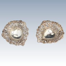 Pair Ornate English Sterling silver Footed Heart Shaped Dishes