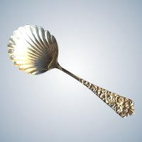 Rose Repousse Sterling silver Bon Bon Spoon with Shell Bowl Essex by Knowles