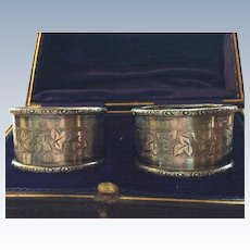 Boxed pair English Sterling silver Napkin Rings with Oak Leaves