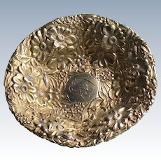 Total gold washed Repousse Sterling silver Bowl