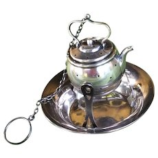 Sterling silver Tea Pot shaped Tea Ball Strainer on Cool Stand
