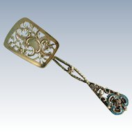 Ornate gold washed Sterling silver flat Server with turquoise enamel