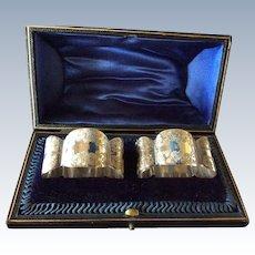 Boxed pair Ornate English Sterling silver Napkin Rings Serviette Holders
