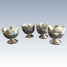 4 Victorian English Sterling silver Cherub Egg Cups