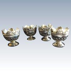 4 Victorian English Sterling silver Cherub Egg Cups