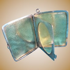 Hammered Sterling silver folding Travel Frame for Chain or Chatelaine