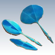 3 piece English Art Deco Blue  guilloche Enamel Sterling Silver Dresser Set