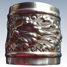 Huge Foliate Repousse Sterling silver Napkin Ring Serviette Holder