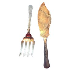Aesthetic Engraved huge sterling silver Fish Serving Set ca 1850 By S D Brower & Son
