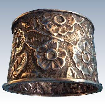 Victorian Sterling silver Cherry Blossom Napkin Ring Serviette Holder