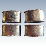Set of 4 aesthetic Engraved 800 Sterling silver oval Napkin Rings Serviette Holders