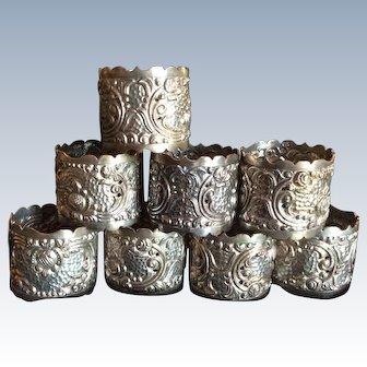 Set of 8 Yogya Indonesian Silver Napkin Rings Serviette Holders