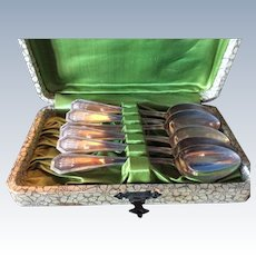 Boxed set 6 Queen Anne by Dominick and Haff Sterling silver Spoons