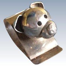 Adorable figural Pig Sterling Silver Napkin Ring Serviette Holder