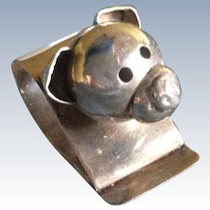 Adorable figural Pig Sterling Silver Napkin Ring Serviette Holder