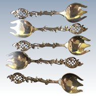 5 ornate Sterling silver Ice Cream Forks By Roger Williams Silver co