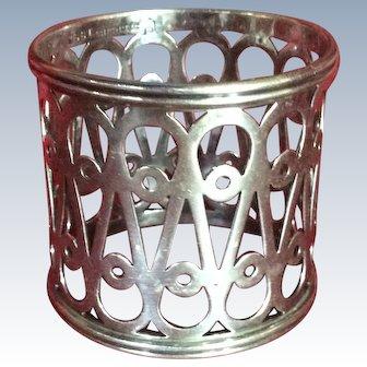 Large ornate Sterling silver Napkin Ring Serviette Holder by Simons Bros