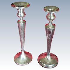 2 Tall and Elegant sterling silver Candle stick Holders