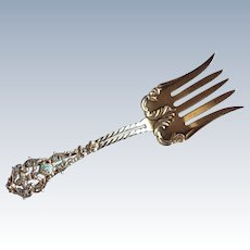 Fleur de Lis sterling silver and turquoise enamel Meat Serving Fork