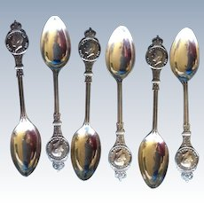 King Edward VIII Medallion Coronation Set of 6 Sterling silver Spoons 1936