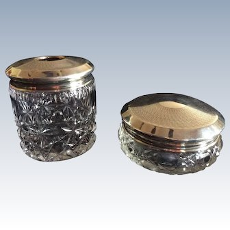 English engine turned Sterling silver Top Dresser Jar and Hair Receiver