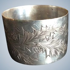Engraved Thistle sterling silver Napkin Ring Serviette Holder Dated 1916