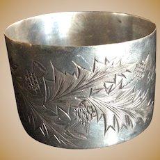 Engraved Thistle sterling silver Napkin Ring Serviette Holder Dated 1916
