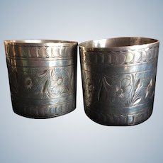 Pair Superb large sterling silver Napkin Rings  Serviette Holders by Towle