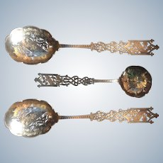 Magnificent 3 piece Pierced English sterling silver Serving Set