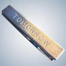 Giant sterling silver clothes pin  shaped Paper Clip Holder Engraved Tomorrow